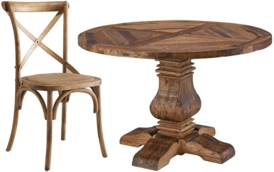 Urban 48Inch Dining Set - Round Pedestal with 4 Cross Back Dining Chairs