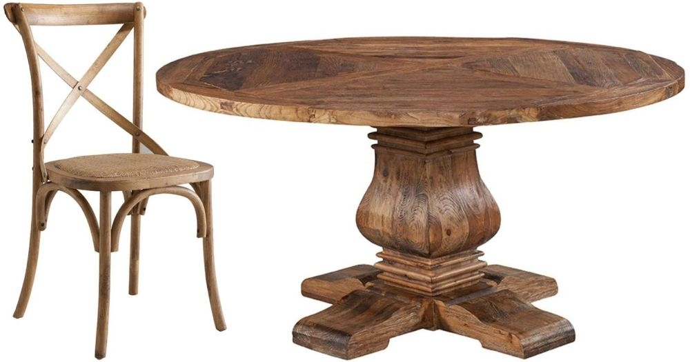 Urban 60Inch Dining Set - Round Pedestal with 6 Cross Back Dining Chairs