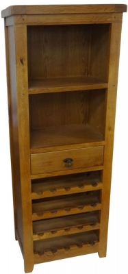Verona Oak Bookcase with Wine Holders