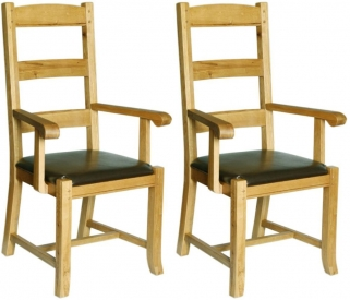Verona Rustic Oak Carver Dining Chair (Pair)