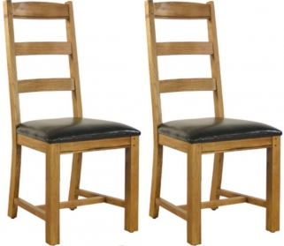 Verona Rustic Oak Dining Chair - Mates (Pair)