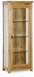 Verona Rustic Oak Display Cabinet - Glass