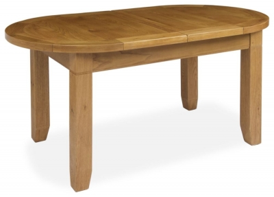 Verona Rustic Oak Large Oval Extending Dining Table