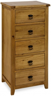 Verona Rustic Oak Chest of Drawer - 5 Drawer  Wellington