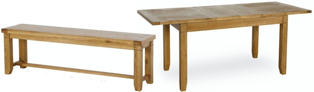 Verona Rustic Oak Dining Set - Large Extending with 2 Large Benches