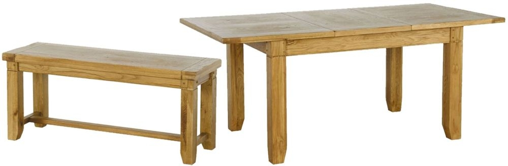 Verona Rustic Oak Dining Set - Small Extending with 2 Small Benches