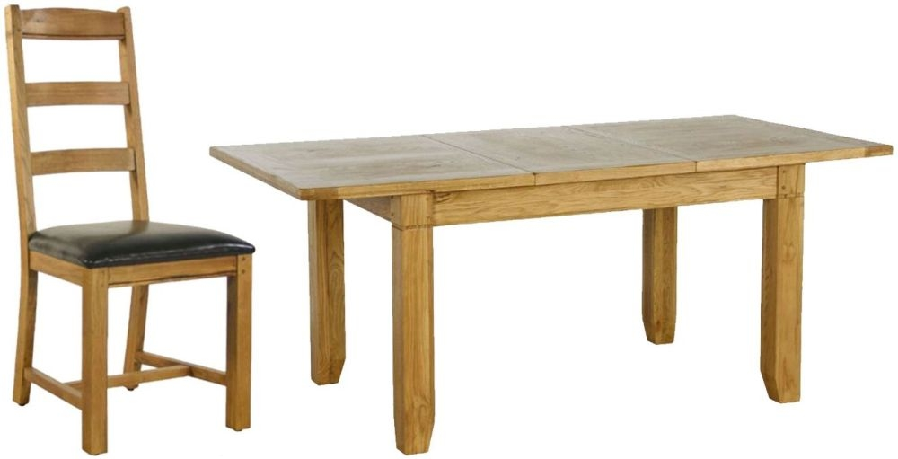 Verona Rustic Oak Dining Set - Small Extending with 6 Chairs