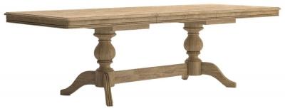 Versailles Oak 180cm-250cm Double Pedestal Extending Dining Table