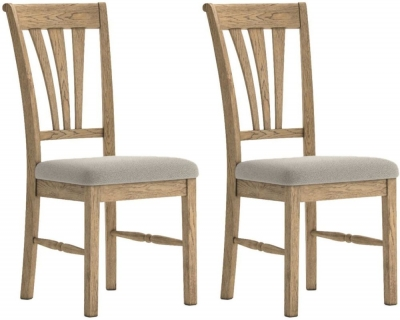 Versailles Oak Almond Fabric Dining Chair (Pair)