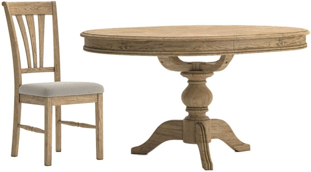 Versailles Round Extending Dining Table and 4 Almond Chairs