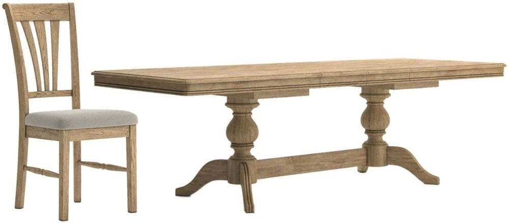Versailles Extending Dining Table and 6 Almond Chairs