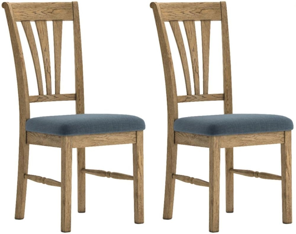 Versailles Oak Slate Fabric Dining Chair (Pair)