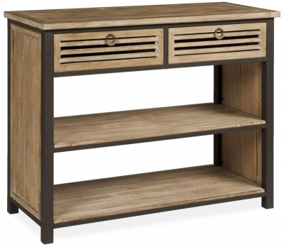 Viga Oak Side Table with Shelves - 2 Drawer
