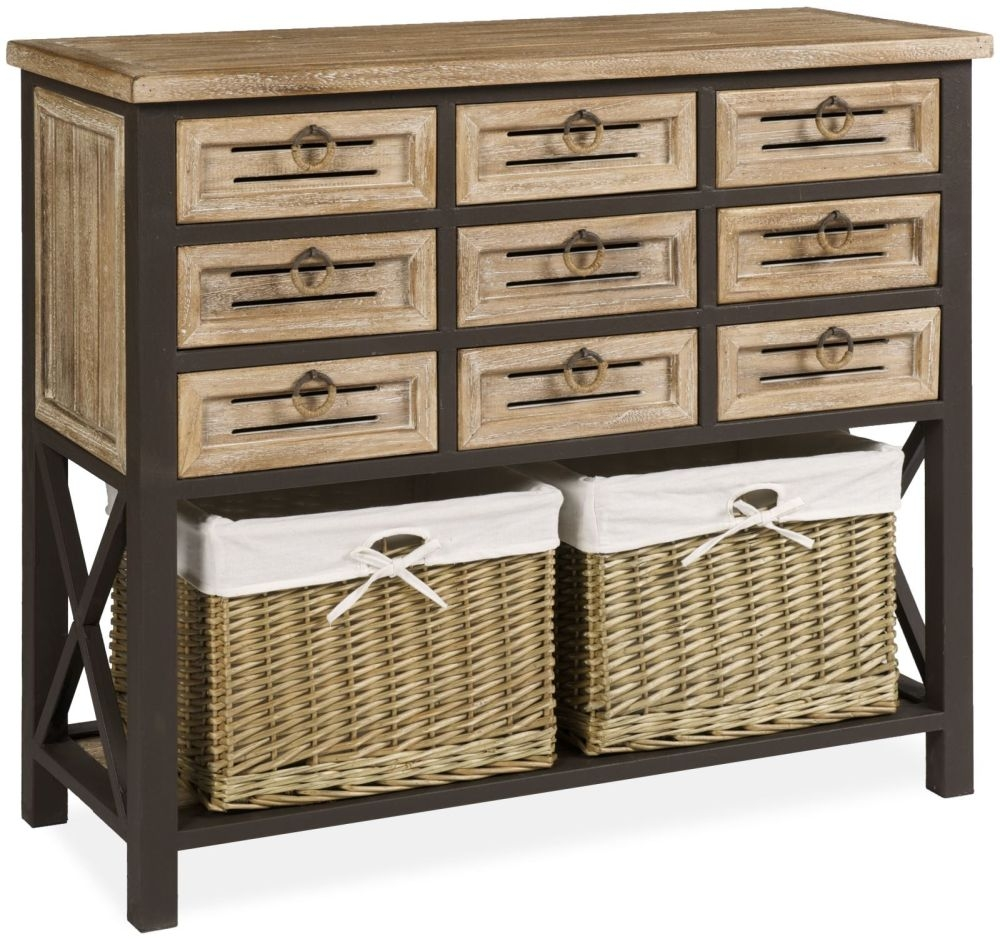 Viga Oak Chest of Drawer with Baskets - 9 Drawer