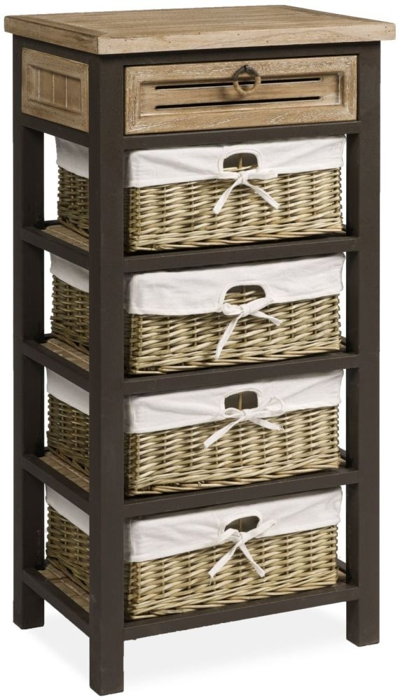 Viga Oak Tall Chest with 4 Baskets