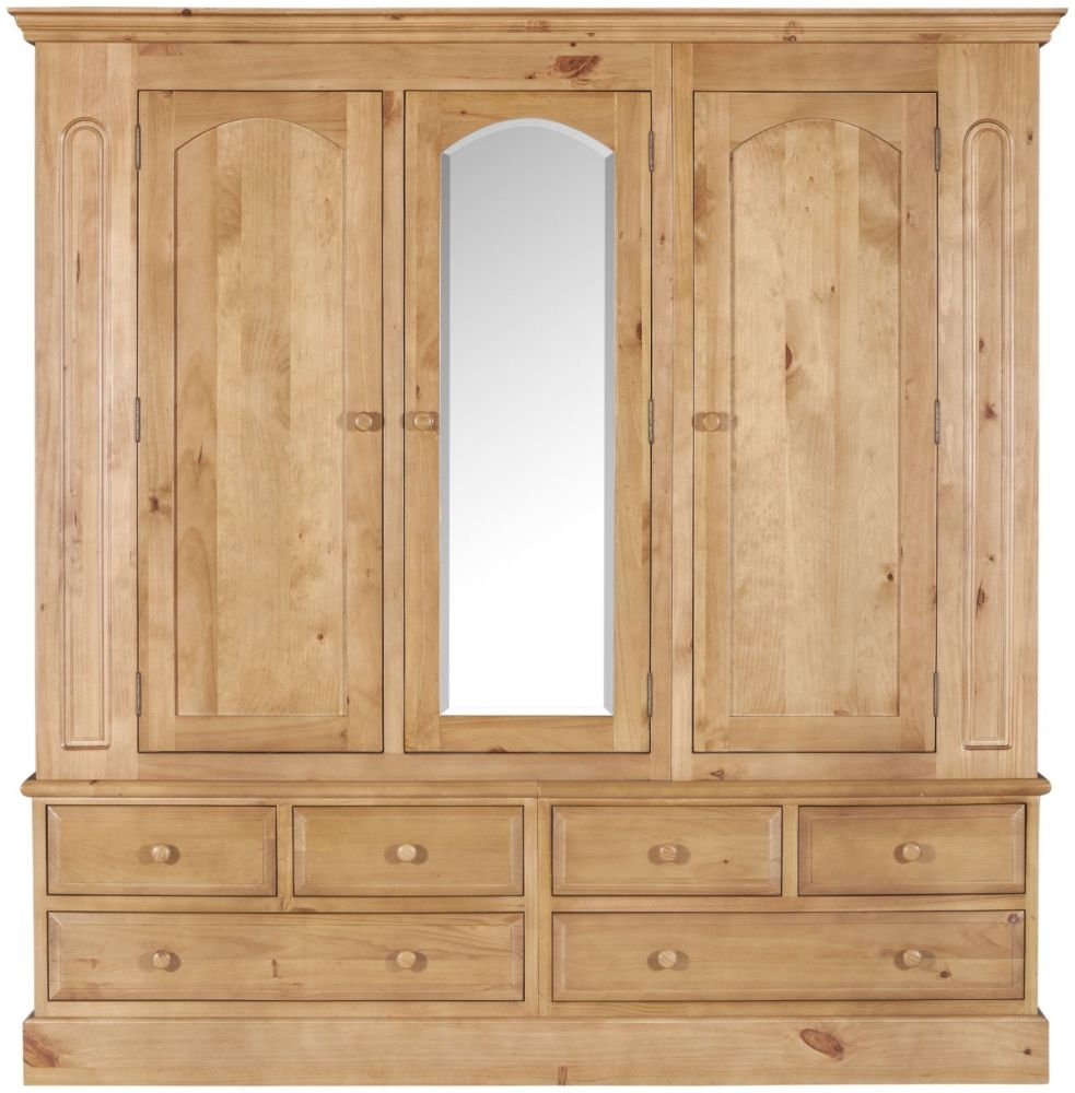 Welland Pine Wardrobe with Mirror - 3 Door 6 Drawer Triple