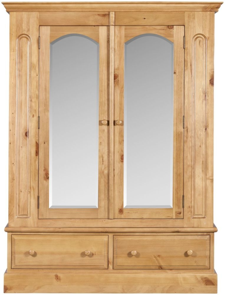 Welland Pine Wardrobe with Mirror - 2 Door 2 Drawer
