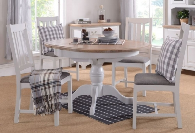 Westbury Grey Painted Dining Set - Round Pedestal with 4 Chairs