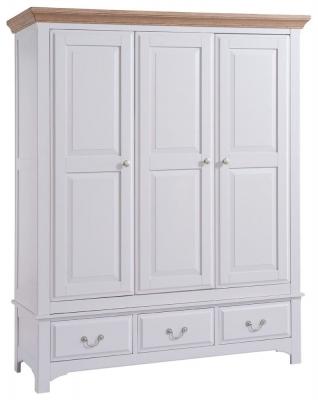 Westbury Grey Painted Wardrobe - 3 Door 3 Drawer