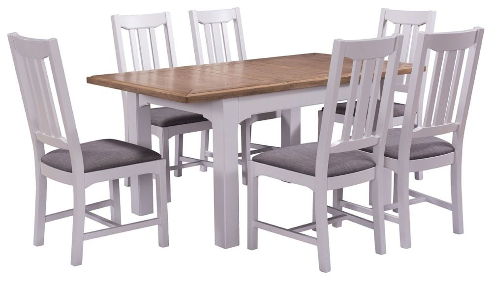 Westbury Grey Painted Dining Set - Extending with 6 Chairs