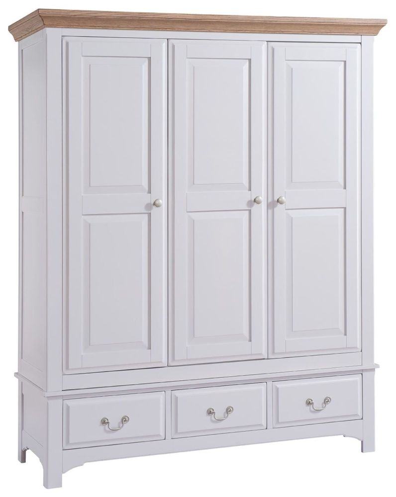 Westbury Grey Painted Wardrobe - 3 Door 3 Drawer