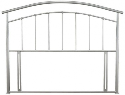 Clearance Half Price - Mercury Pearl Silver Metal 4ft Small Double Headboard - New - FS0045