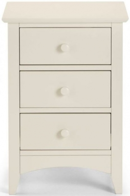Clearance - Julian Bowen Cameo White 3 Drawer Bedside Cabinet - New - E-176