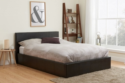 Clearance Half Price - Birlea Berlin Brown Faux Leather 5ft King Size Ottoman Bed - New - FS102