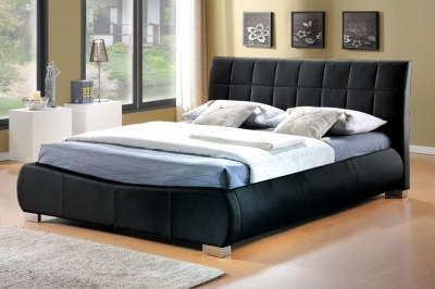 Clearance Half Price - Limelight Dorado 4ft 6in Double Black Faux Leather Bed - New - FS222