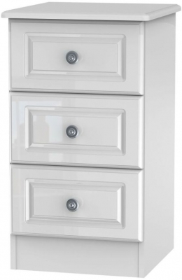 Clearance - Pembroke High Gloss White 3 Drawer Bedside Cabinet - New - A-106
