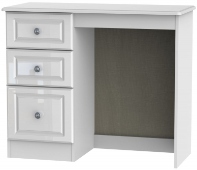 Clearance - Pembroke High Gloss White Single Pedestal Dressing Table - New - A-167