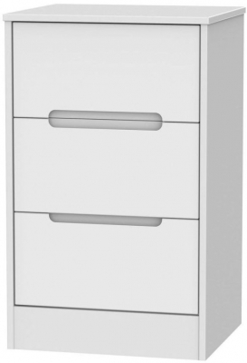 Clearance - Monaco Matt White 3 Drawer Bedside Cabinet - New - A-116