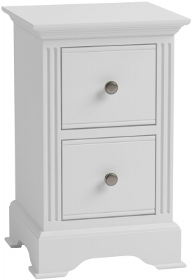 Clearance - Ashby White Painted 2 Drawer Bedside Cabinet - New - FS565