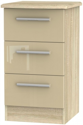 Clearance - Knightsbridge High Gloss Mushroom and Bardolino 3 Drawer Bedside Cabinet - New - FS528