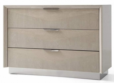 Clearance - London Cream Walnut High Gloss Chest of Drawer - 3 Drawer - New - FS867