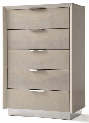 Clearance - London Cream Walnut High Gloss Chest of Drawer - Tall Wide - New - FS866