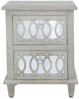 Clearance - Melville Mirrored Bedside Cabinet - New - FS505