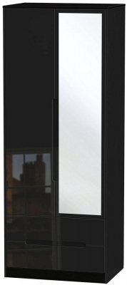 Clearance - Monaco High Gloss Black 2 Door Tall Combi Wardrobe - New - FS691