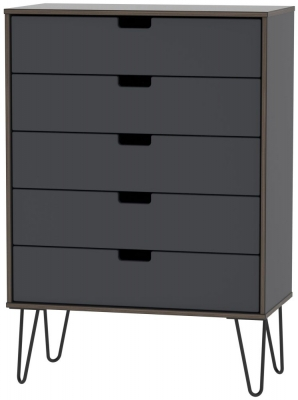 Clearance - Shanghai Graphite 5 Drawer Chest with Hairpin Legs - New - FS683