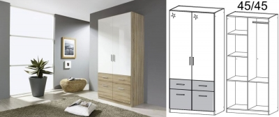 Clearance - Rauch Celle Extra 2 Door 4 Drawer Wardrobe in Sonoma Oak and High Gloss White - New - CFS130862
