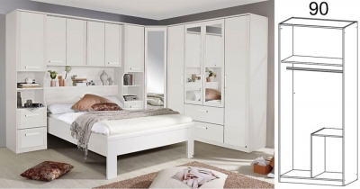 Clearance - Rauch Rivera 2 Door 2 Right Drawer Combi Wardrobe with Cornice in Alpine White - New - CFS131955
