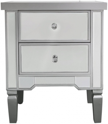 Clearance - Mergo Mirrored Silver Trim Bedside Cabinet - New - E-15