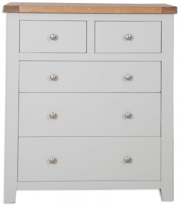 Clearance - Perth 2+3 Drawer Chest - Oak and French Grey Painted - New - E-102
