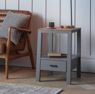 Clearance - Gallery Sherwood Smoked Grey Side Table - New - E-208