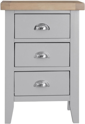 Clearance - Hampstead Oak and Grey Painted 3 Drawer Bedside Cabinet - New - E-180
