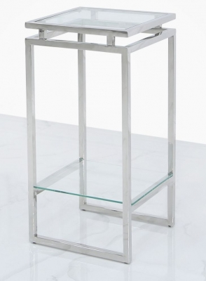 Clearance - Fairbanks Small Plant Stand - Glass and Chrome - New - E-6