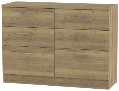 Clearance - Devon Stirling Oak 6 Drawer Midi Chest - New - E-397