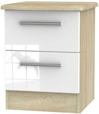 Clearance - Knightsbridge 2 Drawer Bedside Cabinet - High Gloss White and Bardolino - New - E-395