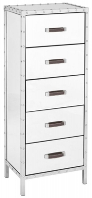 Clearance - Rivet Mirrored Glass 5 Drawer Chest - New - E-417