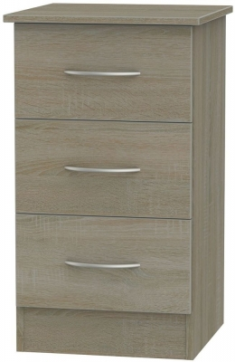 Clearance - Avon Darkolino 3 Drawer Bedside Cabinet - New - FS1181